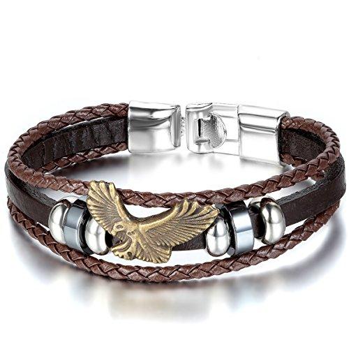 JewelryWe Schmuck Herren Damen Armband, Retro Adler Eagle Beads Kugeln Geflochten Charm Armreif, Leder Legierung, Braun Gold Silber