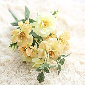Artificial Flowers 2 Pcs Silk Camellia Tea Rose Artificial Flower Oil Painting Bridal Bouquet Wedding Decoration DIY Home Party Fake Flowers Wedding Bouquets