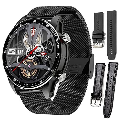 HQPCAHL Reloj Inteligente Smartwatch Hombre con Llamada Bluetooth Monitoreo de Temperatura presión Arterial oxígeno en Sangre sueño, Pulsera de Actividad Inteligente,3 Straps