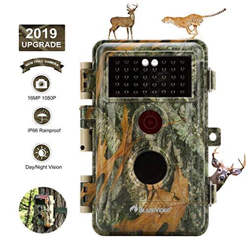 """BlazeVideo 16MP 1080P Wildkamera Beutekamera, Digitale Wildtier Kamera mit Bewegungmelder und Nachtsicht, IP66 Wasserdicht, 2,4\"""" Bildschirm"""