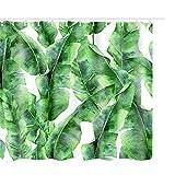 Litthing Duschvorhang 180x180 Anti-Schimmel & Wasserabweisend Shower Curtain mit 12 Duschvorhangringen 3D Digitaldruck Grüne Pflanze mit lebendigen Farben (12)