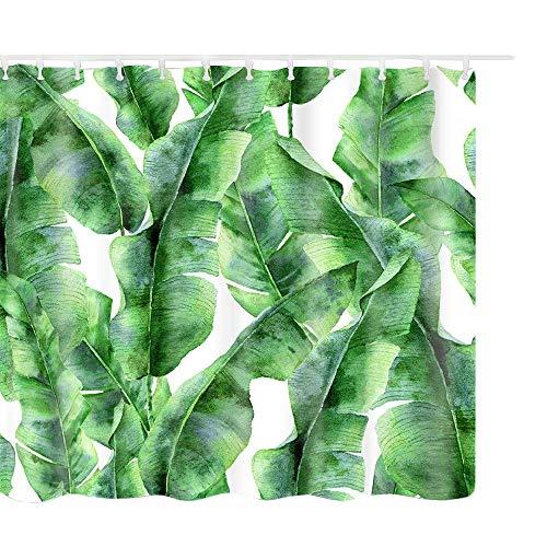Litthing Cortina de Ducha Anti-Molde Estilo de Planta Verde 180 cm * 180 cm / 12 Anillos de Cortina para el Baño con Vibrante Colores de Impresión Digital en 3D (12)