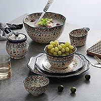 陶器ディナーセット、ヴィンテージ柄磁器食器セット21個入り  結婚式の新築祝いのギフト用のフォークカスタムシリアルボウルとステーキプレートセット