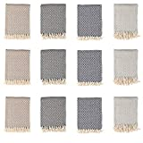 Arkwright Decorative Cotton Throws (50x70, 12-Pack, Diamond Pattern), Sundry Throw Blankets for Home, Office, Wedding, Camping, Car, Hotel