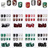 192 Pieces 8 Boxes Short Square Press on False Nails Glossy Artificial Nails with Rhinestone Press on False Nail Tips Full Cover Fake Nails Colorful Fake Nails for DIY Nail Art (Classic Patterns)