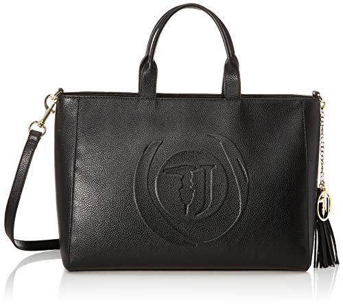 Trussardi Jeans Faith Shopper LG Tumbled Ecole, Borsa a Mano Donna, Nero (Black), 28x17x38 cm (W x H x L)