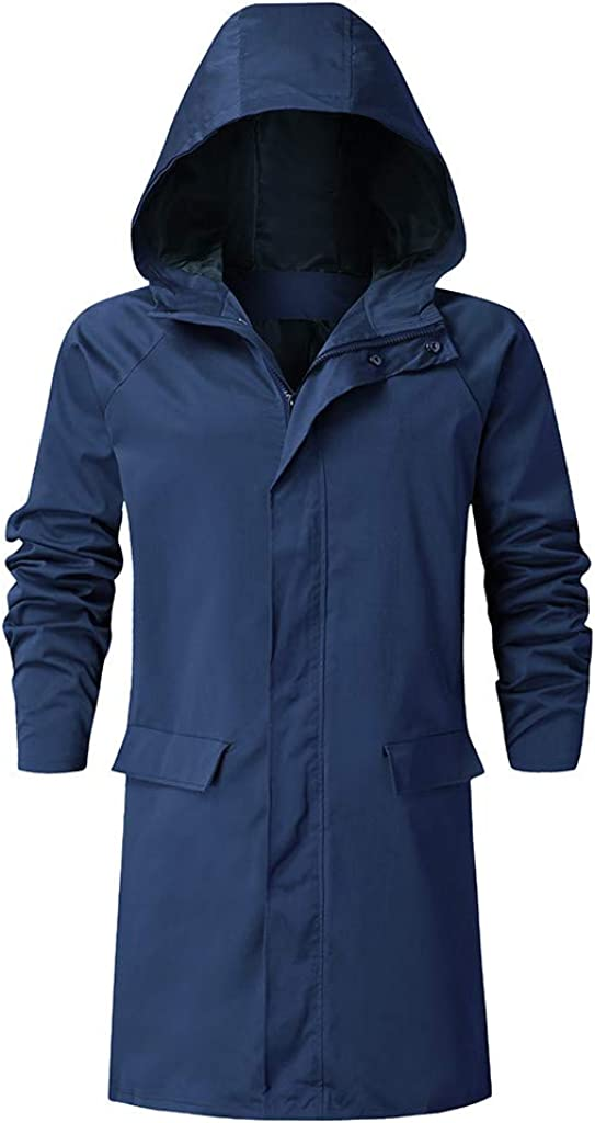 Men's Long Zipper Jacket with Hood Casual Long Sleeve Coat with Pocket for Outdoor Windproof
