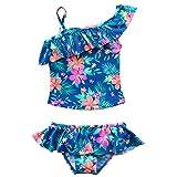 Freebily 2 Pièces Fille Floral Bikini Bretelle Plage D'été Maillot de Bain Deux pièces T-Shirt et Culotte pour Fille 2-7 Ans Bleu imprimé Floral 4-5 Ans