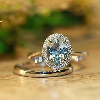 Balance-VS Diamond 9x7 Oval Aquamarine In 14K White Gold Halo Engagement Ring and 14k White Gold Wedding Band Bridal Set