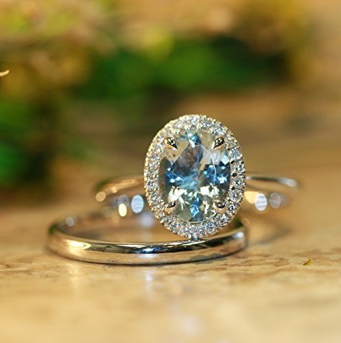 Balance-VS Diamond 9x7 Oval Aquamarine In 14K White Gold En Halo Max 88% OFF Outlet SALE