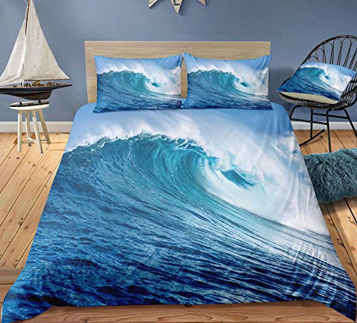 MOUPSDT 3D Printed Duvet Cover Blue waves Super King size Bedding Set Super Soft Microfiber 3 pcs 1 Duvet Cover 86.7 inch x 103 inch with 2 Pillow covers 50x75cm