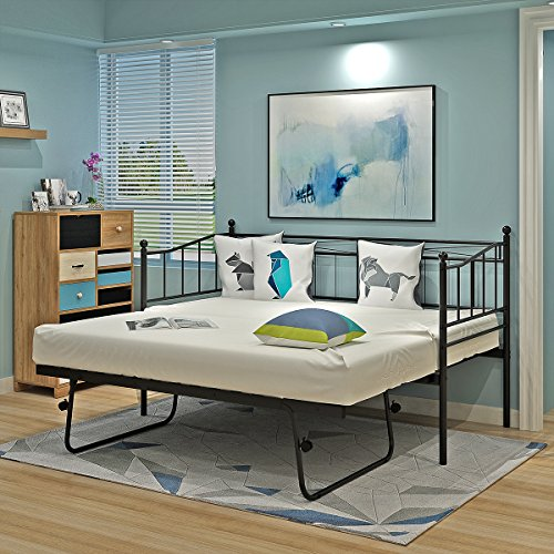 2 Styles Metal Bed Frame Day Bed 3ft Single Sofa Guest Bed Black/White New (Style1 Daybed+Trundle, Black)