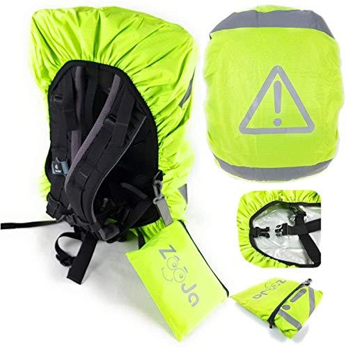ZooJa Regenschutz Schulranzen und Regenhülle für Rucksack für mehr Sicherheit für Kinder - Besonders wasserdicht und reflektierend und extra Tasche - für Wandern, Camping, Radfahren 35l