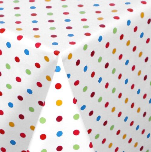 WACHSTUCH Tischdecken abwischbar Meterware, Größe wählbar, 100x140 cm, Glatt Punkte Bunt Weiss