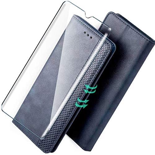 HYMY Custodia for ZTE Blade A5 2020 + Vetro Temperato - PU Pelle Forte Magnetico Wallet Cover Flip Stile Card Holder (con Supporto Interno) per ZTE Blade A5 2020-Blue