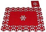 Christmas Concepts Juego de 8 manteles y Posavasos navideños de Fieltro Rojo de 8 Piezas - 4 tapetes + 4 Posavasos