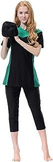 Yamart Women Muslim Bathing Suit With Cap Printing Solid color Comfortable Conservative Swimsuit Beachwear Women Swimwear
