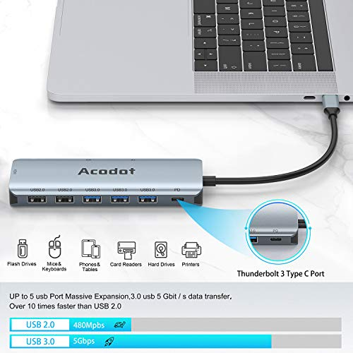 USB C Hub, 9 in 1 Multiport USB-C HUB Thunderbolt 3 Type C HUB mit 3 USB 3.1 Gen 1 und 2 USB 2.0, OTG USB C Hub Adapter PD 100W, 4K HDMI,SD/TF Kartenles Kompatibel für MacBook/Surface / iPad / Laptops