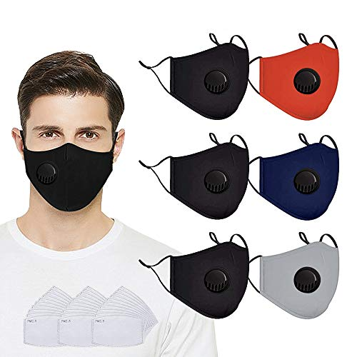 Reusable Face Protection with Filters-6pack Face Protect with vent and 30pcs Replaceable Activated Carbon Filters,anti Dust,Washable,Colorful(Black,Red,Blue,Gray)