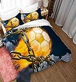Edredon Nordico Cama 200x200cm Balón De Fútbol con Llama De Red De Lanzamiento De Martillo Juego De Funda De Edredón Suave 3 Piezas Funda De Edredón Y Funda De Almohada Impresa,Funda Nórdica