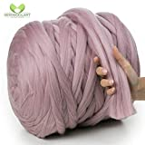 MeriWoolArt - Lana de merino 100 % para punto y ganchillo con hilo de 4-5 cm de grosor, lana de merino gruesa para bufanda, manta y cojín XXL, Color rosa., 4,5Kg Rolle