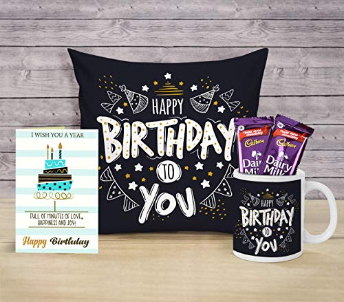 TIED RIBBONS Birthday Chocolate Gifts Hamper for Boyfriend Girlfriend Girls Boys Friend (Coffee Mug, Cushion Cover with Filler (12 X 12 Inch), Greeting Card and Chocolates)