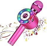 Reproductor de micrófono inalámbrico Bluetooth Karaoke con luces LED, máquina portátil portátil de altavoces de karaoke recargable, compatible con PC con Android iOS (Pink)