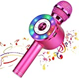 Reproductor de micrófono inalámbrico Bluetooth Karaoke con luces LED, máquina portátil portátil de altavoces de karaoke recargable, compatible...