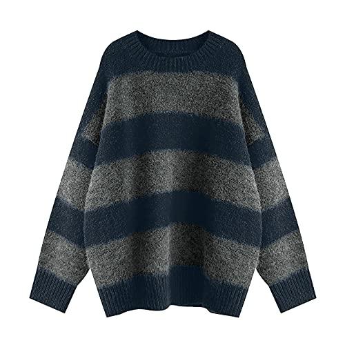 Ekrfxh Blusa larga de punto de manga larga para mujer con cuello redondo y manga larga, azul, L