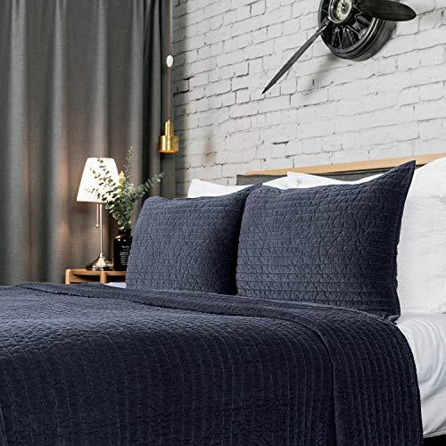 ELEGANT LIFE HOME Reversible Royal Cotton Velvet Pic-Stitch Bedding Quilt - Oversized King - 108'' x 92'' Dusty Blue