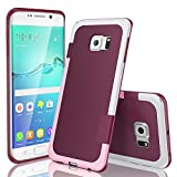 TILL for Galaxy S6 Edge Case, TILL(TM) Ultra Slim 3 Color Hybrid Impact Anti-Slip Shockproof Soft TPU Hard PC Bumper Extra Front Raised Lip Case Cover for Samsung Galaxy S6 Edge G925 [Wine]