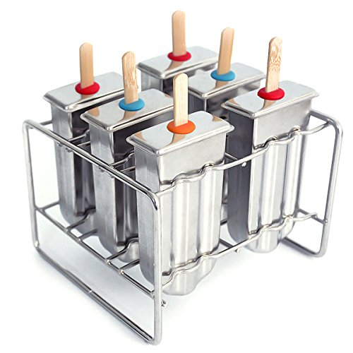 kingleder Stainless Steel Ice Lolly Popsicle Molds Kit - 6 Ice Pop Makers With Holder Base + 50 Reusable Bamboo Sticks + 8 Silicone Seals + 20 Pop Bags + Cleaning Brush