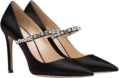 Talons Pointus Strass Boucles Chaussures de soirée Noires Chaussures de de Mode pour Femmes (Taille   37)  qualité pas cher et top