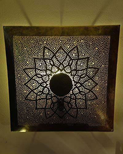 Orientalische Wandlampe Messinglampe Marrakesch Gold Viereckig