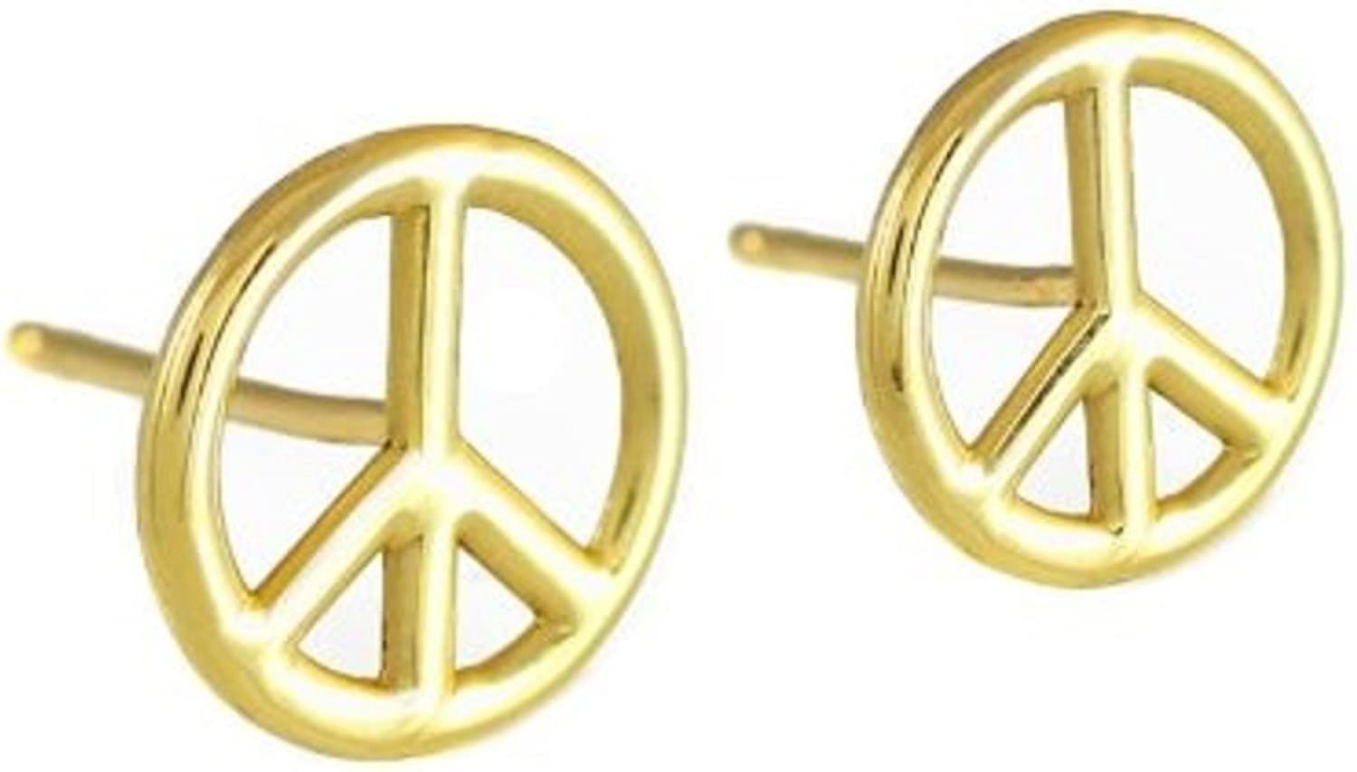 14K Peace Symbol Yellow gold Post Earrings