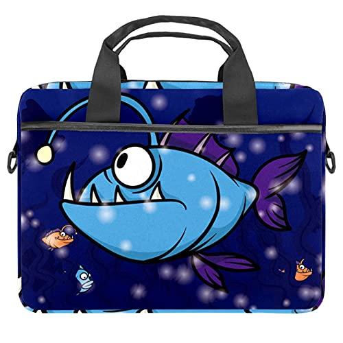 Blue Angler Fish - Maletín de lona para portátil de 13,4 a 14,5 pulgadas