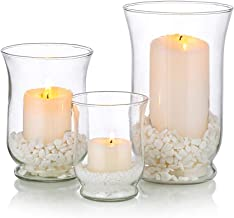 Glass Candle Holder 1 Set(3Pcs) Hurricane Candleholder Multiple Uses for Pillar Votive Tealight Floating Candle, Flower Va...