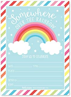 25 Rainbow Stars Color, Cloud Colorful Sparkle Party Invitations, Striped Colored Pastel Girls Invite Ideas, Kids Adults Birthday Supplies, Baby or Bridal Shower Gender Reveal Card, Printable Template