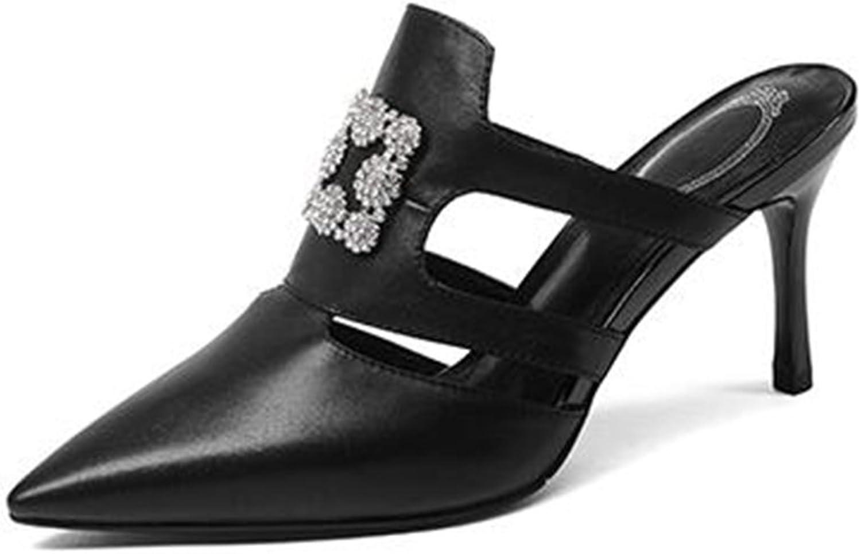 HUL Sandals Rhinestone Sandals Female Fine with Outer Wear Slippers Pointed High Heels Summer Fashion Rhinestone 8.5CM White Black