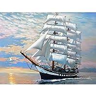油絵数字キットによる絵画デジタル絵画油絵数字キットによる絵画手塗りDIY絵デジタル油絵塗り絵 - セーリングを開始します 40x50cm(フレームなし)