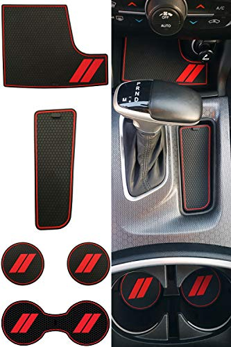 GRIDREADY Custom Fit for 2015-2020 Dodge Charger Cup Holder Insert & Center Console Shifter Liner Trim Mats | Custom Fit Non Slip Storage Bin Mat Set | Interior Accessories (21 pcs)