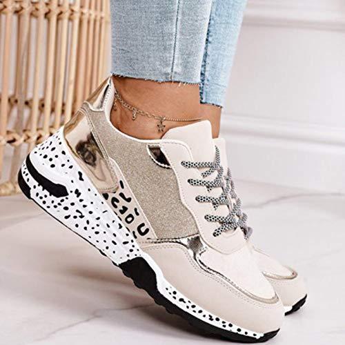 DQS Zapatillas de Deporte para Mujer, Estampado de Leopardo, Zapatos Deportivos para Mujer, Zapatos para Correr al Aire Libre para Mujer, Zapatillas de Deporte de Fondo Grueso con Cordones