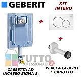 Kit completo cassetta wc incasso GEBERIT con PLACCA comando 2 Tasti Bianca e canotto