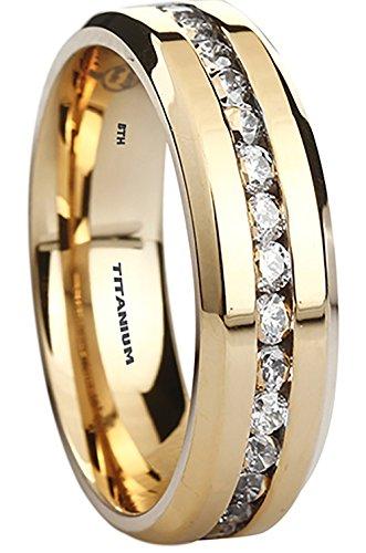 Titanium Ring - 6mm Wide Simulated Diamonds Classic Gold gp Unisex Wedding Engagement Band Ring T