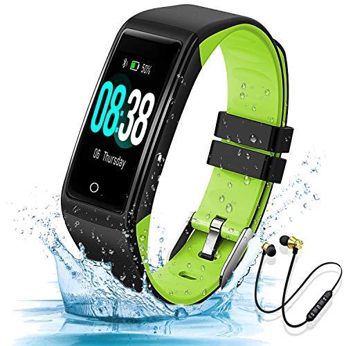 Montre Connectée Femmes Homme Enfant IP67 Etanche Bracelet Connecté Écran Coloré Smartwatch avec Cardio Podometre Sommeil Réveil Notifications pour iPhone Huawei Samsung Xiaomi (Vert)
