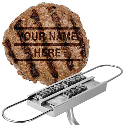 Barbuzzo BBQ Brandeisen mit wechselbaren Buchstaben - Branding Your Steak, Hamburger, Huhn, with Your Name, Message or just About Anything - Great for Birthday, Vatertag, Parties, Tailgate