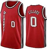 XZWQ Baloncesto para Hombre NBA Jersey- Portland Trail Blazers 0# Lillard Unisex Basketball Jerseys Cómodo Bordado De Malla Basketball Jerseys Camiseta Sin Mangas,Rojo,S