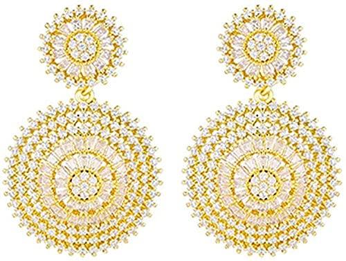 NC110 Collar con Colgante Par de aretes Redondos de circonita cúbica para Mujeres y niñas Accesorios de joyería Cajas de Regalo Regalos Elegantes y Nobles YUAHJIGE