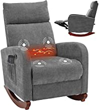 AVAWING Electric Massage Recliner Chair, Chair with Heat Function USB Ports, Rocker Recliner Fabric Padded Seat Wood Base, Modern High Back Armchair with Footrest Remote Control for Home
