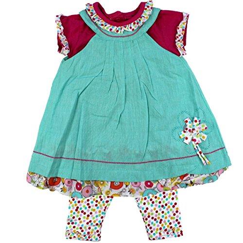 anja-wendt Set Baby Mädchen Sommer Kleid Tunika mit Leggins aufgenähte Blume Türkis blau bunt festliches schickes Outfit pink kleine...